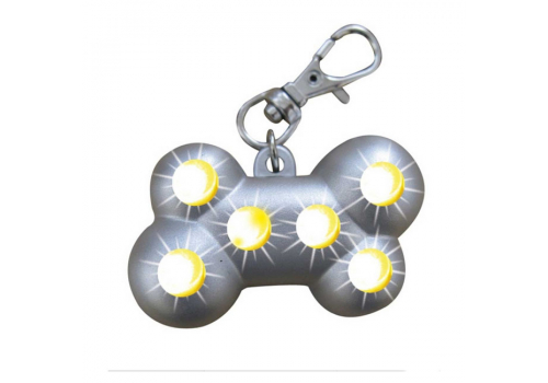 Брелок для ошейника NOBBY Blinking Bone, светодиодный на батарейках
