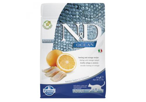 Корм Farmina N&D для кошек, беззерновой, сельдь с апельсином, 300г