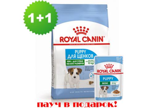 Комплект корм Royal Canin Mini Puppy для щенков мелких пород, 800г + пауч 85г