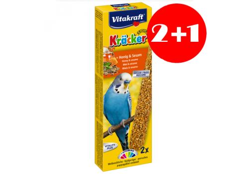 Лакомство для птиц Vitakraft Крекеры для волнистых попугаев, мед и кунжут, 2+1шт