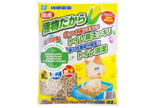 Наполнитель Japan Premium Pet кукурузный с растит.с лугов.трав  7л