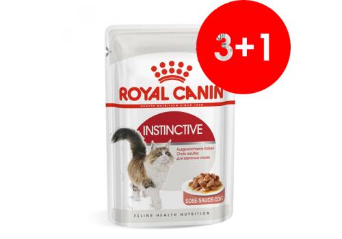 Комплект Корм влажный Royal Canin Instinctive (в соусе) для кошек, паучи 85г, 3+1шт