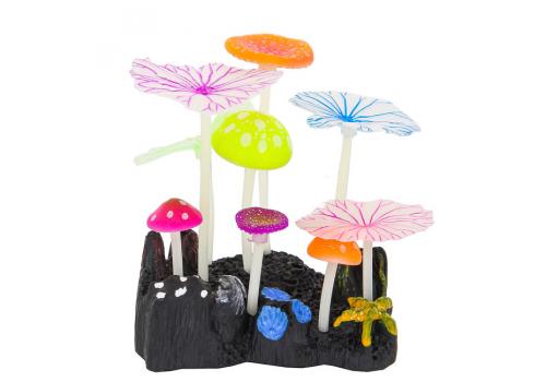 Декорация Флуорисцентная Gloxy 5 грибов и 4 листа Лотоса