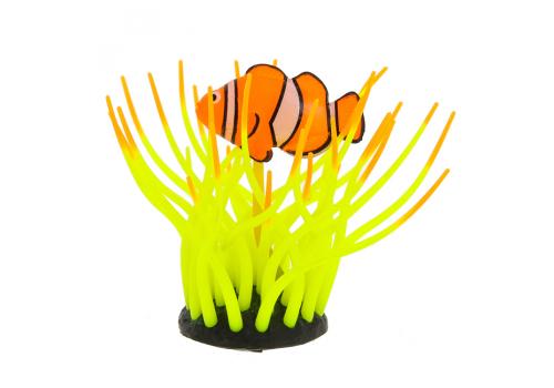 Декорация Флуорисцентная Gloxy Рыба клоун в анемоне желтая