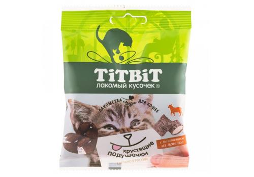 Лакомство TitBit Хрустящие подушечки д/кошек с паштетом из ягненка 30г