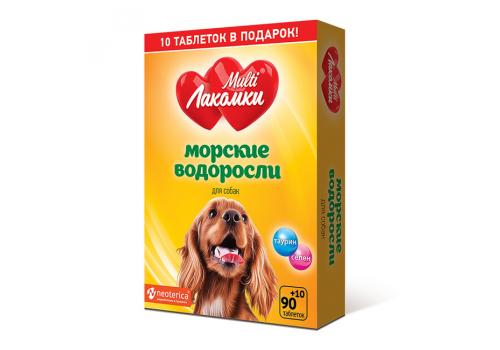 Кормовая добавка МультиЛакомки Морские водоросли для собак, 100таб