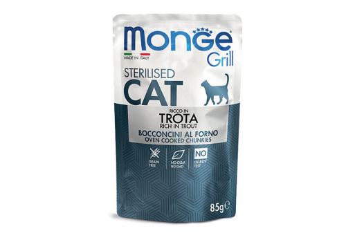 Консервы Monge Cat Grill Pouch для стерилизованных кошек, итальянская форель 85г