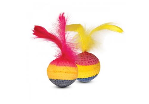 Игрушка для кошек Мяч мягкий с перьями