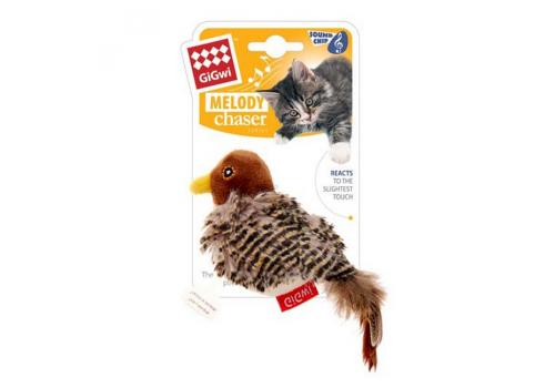 Игрушка для кошек GiGwi Птичка со звуковым чипом (искуств. мех)