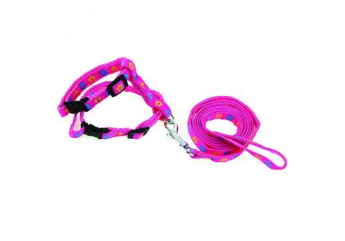 Шлейка для кошек Lilli Pet М 18-28см, розовый
