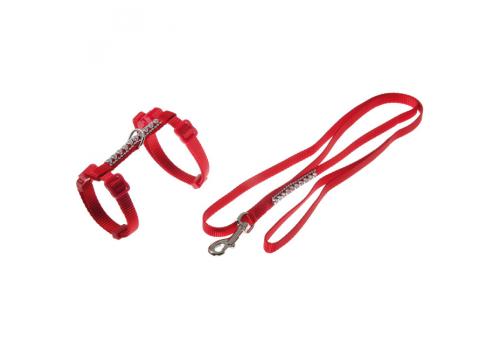 Шлейка для кошек с поводком, стразы Plus, красный 67702