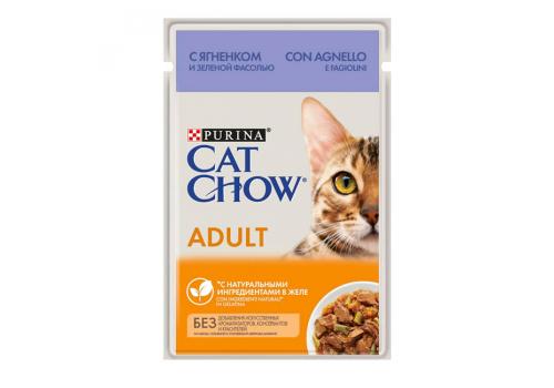Корм влажный Cat Chow для взрослых кошек, с ягненком и зеленой фасолью в желе, 85г