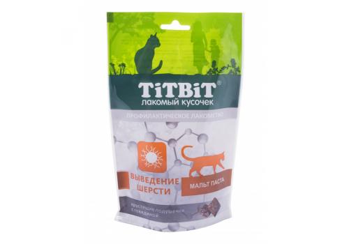 Лакомство TitBit Хрустящие подушечки д/кошек с говядиной для выведения шерсти 60г