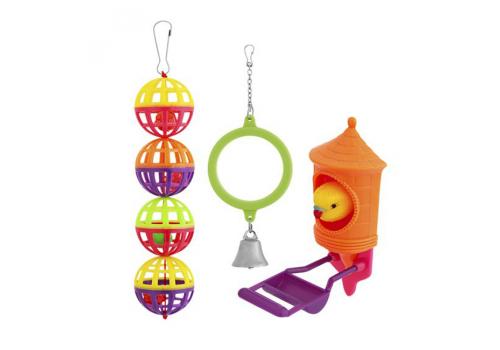 Игрушка для птиц Penn-Plax Набор зеркало, шары, птичка ВА519