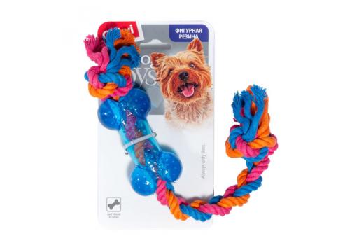 Игрушка для собак GiGwi Косточка на веревке резиновая малая, 26см