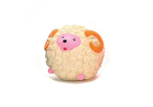 Игрушка для собак Lilli Pet мяч-барашек с пищалкой, бежевый, 7см