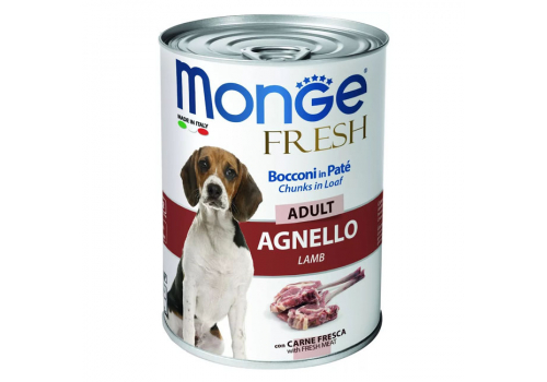 Консервы Monge Dog Fresh Chunks in Loaf мясной рулет из ягненка, 400г
