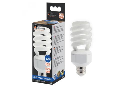 Лампа для птиц Bird Systems Compact Specialist 2.2% UVB E27, 20Вт