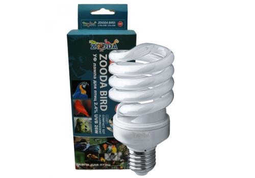 Лампа для птиц ZooDA Bird Compact 2.4% UVB E27, 26Вт