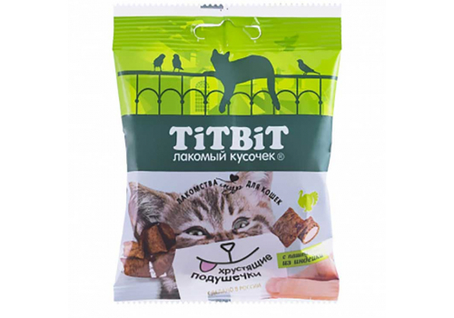 Лакомство TitBit Хрустящие подушечки д/кошек с паштетом из индейки 30г