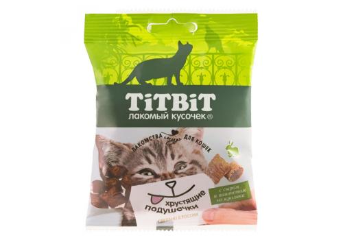 Лакомство TitBit Хрустящие подушечки д/кошек с сыром и паштетом из кролика 30г