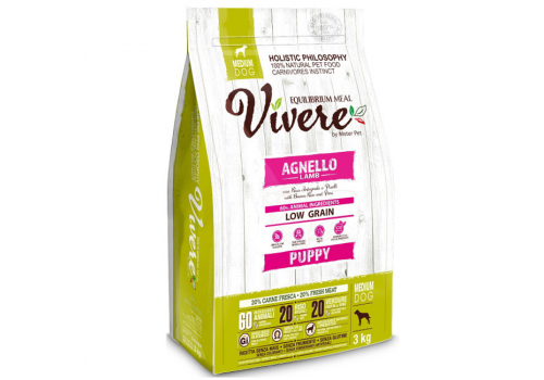 Корм Vivere Ягненок для щенков средних пород 3кг
