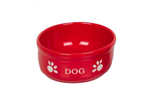 Миска Nobby DOG керамика, красная с рисунком, 0,46л
