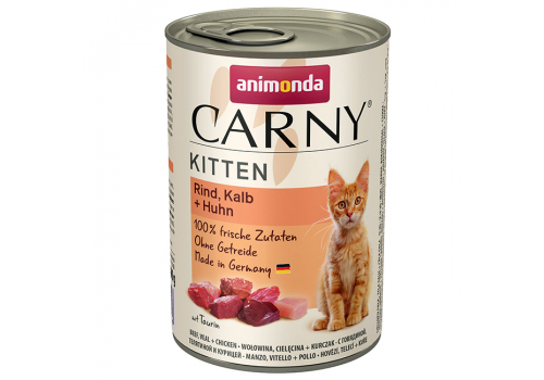 Консервы Animonda Carny Kitten для котят, с говядиной, телятиной и курицей 400г