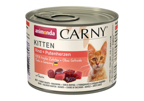 Консервы Animonda Carny Kitten для котят, с говядиной и сердцем индейки 200г