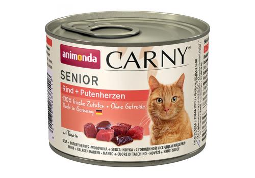 Консервы Animonda Carny Senior для пожилых кошек, с говядиной и сердцем индейки 200г