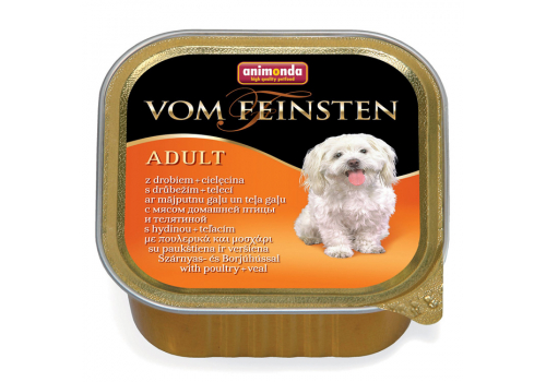 Консервы Animonda Vom Feinsten Adult для собак, с мясом дом. птицы и телятиной 150г