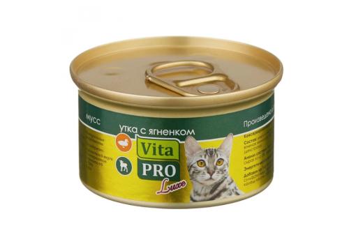 Консервы Vita PRO Luxe для кошек, мусс со вкусом утки и ягненка 85г