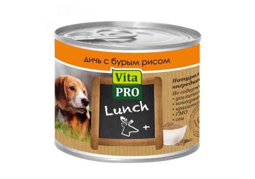 Консервы Vita Pro Lunch для собак, с дичью и бурым рисом 200г