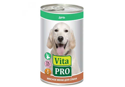 Консервы Vita Pro для собак, с дичью 400г
