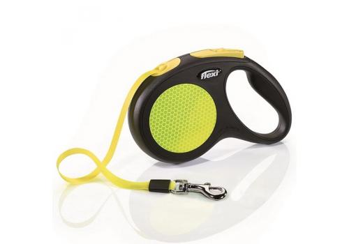 Рулетка Flexi New Neon М (до 25 кг) лента 5м, желтый