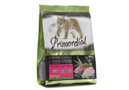 Корм Primordial Kitten для котят беззерновой, утка/индейка 400г