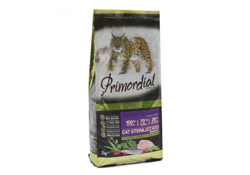 Корм Primordial Sterilizzato для стерилизованных кошек, индейка/сельдь 2кг