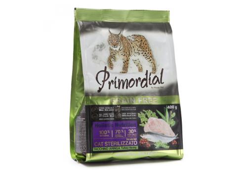 Корм Primordial Sterilizzato для стерилизованных кошек, индейка/сельдь 400г