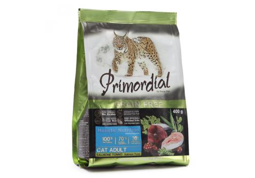 Корм Primordial Adult для кошек беззерновой, лосось/тунец 400г