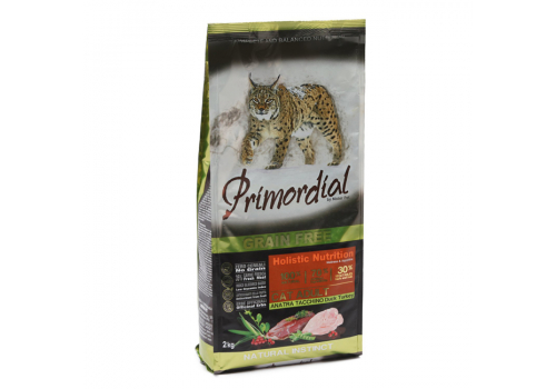 Корм Primordial Adult для кошек беззерновой, утка/индейка 2кг