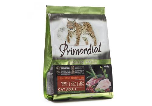 Корм Primordial Adult для кошек беззерновой, утка/индейка 400г