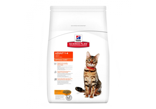 Корм Hill's SP Optimal Care Adult для кошек, с курицей 1,5кг