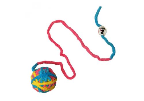 Игрушка для кошек Шерстяной клубок с мататаби, разноцветный