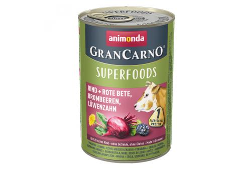 Консервы для собак Animonda Gran Carno Superfoods, с говядиной+свекла, ежевика, одуванчик, 400г