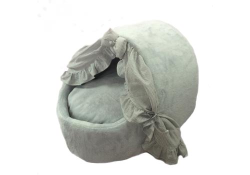 Домик -тапок для кошки Шторки полоска Серый