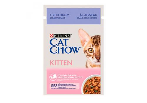 Корм влажный Cat Chow для котят, с ягненком и кабачками в соусе, 85г