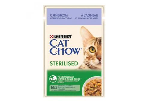 Корм влажный Cat Chow для стерилизованных кошек, с ягненком и зеленой фасолью в соусе, 85г