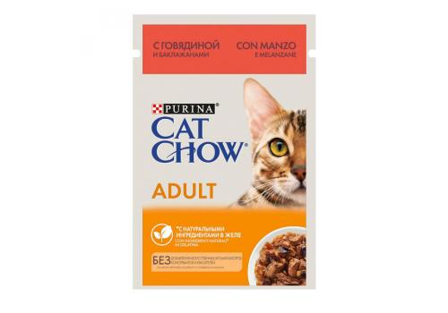 Корм влажный Cat Chow для взрослых кошек, с говядиной и баклажанами в желе, 85г
