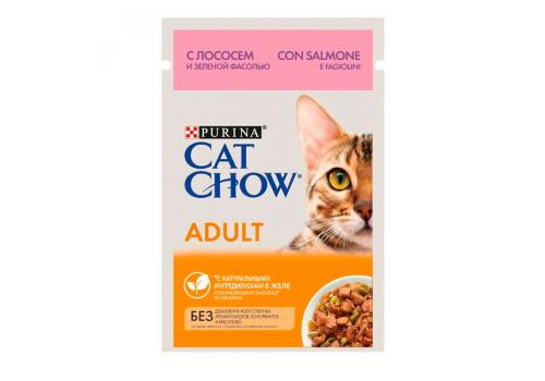 Корм влажный Cat Chow для взрослых кошек, с лососем и зеленой фасолью в желе, 85г